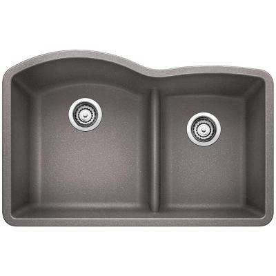 Diamond Undermount Granite Composite 32 in. 0-Hole with Low-Divide Double Bowl Kitchen Sink in Metallic Gray