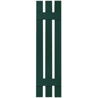 12 in. x 43 in. Lifetime Vinyl Standard Three Board Spaced Board and Batten Shutters Pair Midnight Green