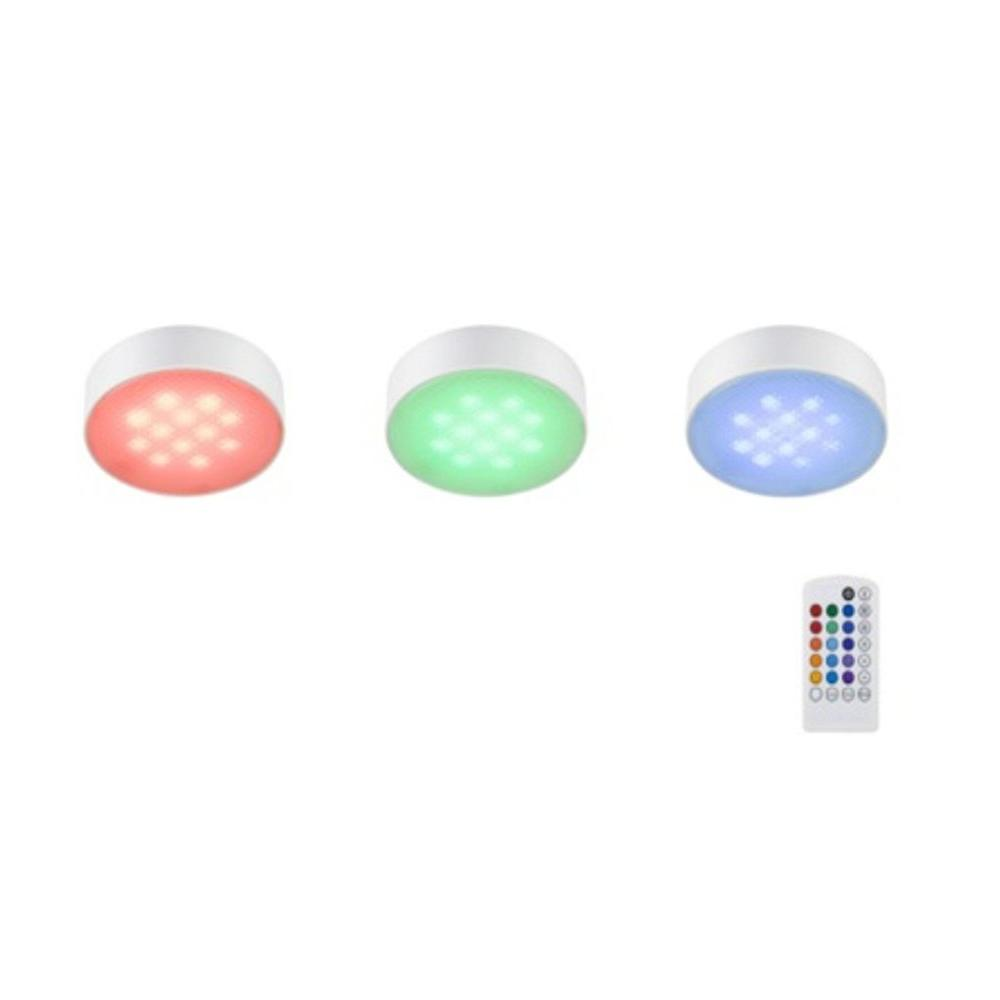 3 Light LED White RGB Color Changing Puck Light Kit