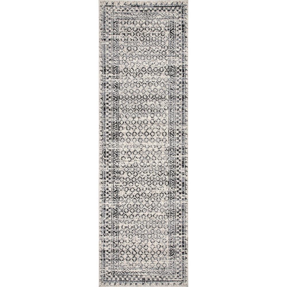 Elodie Checkered Diamonds Light Gray 2 ft. 6 in. x 6 ft. Indoor Runner Rug
