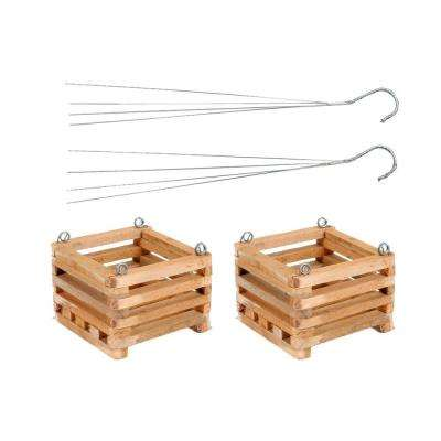 8 in. Wooden Square Hanging Baskets (2-Pack)