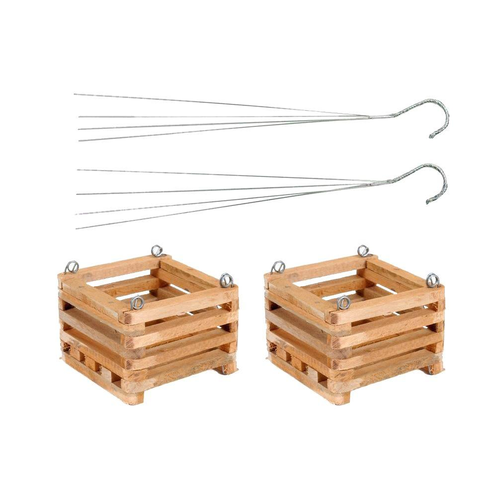 Better Gro 8 In Wooden Square Hanging Baskets 2 Pack