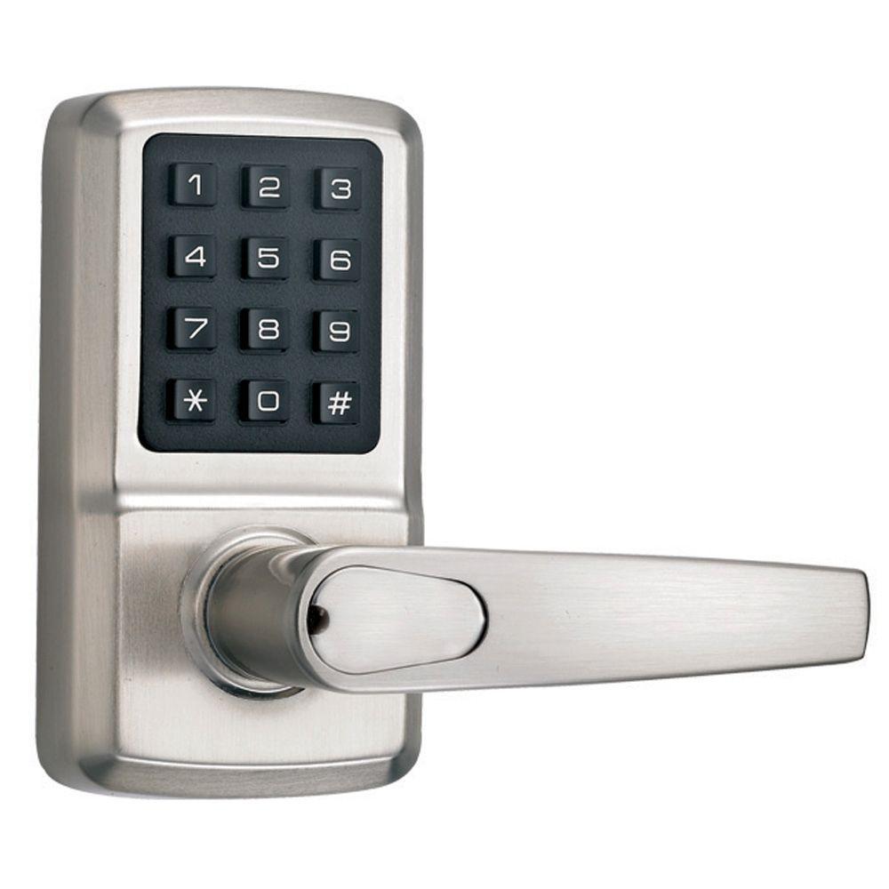 Single-Cylinder Satin Nickel Digital Door Lever with Milton Left-Handed