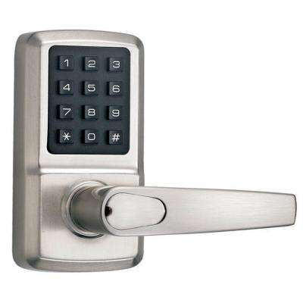 Single Cylinder Satin Nickel Digital Door Lever with Milton Right-Handed