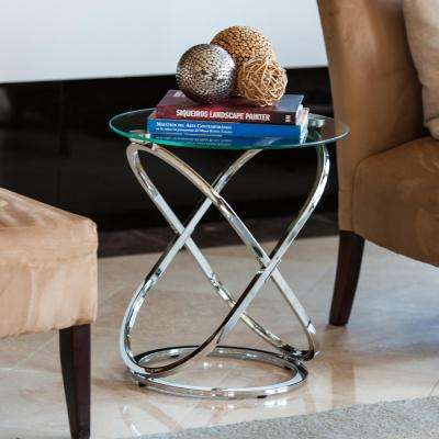 Galaxy Chrome and Tempered Glass Round End Table