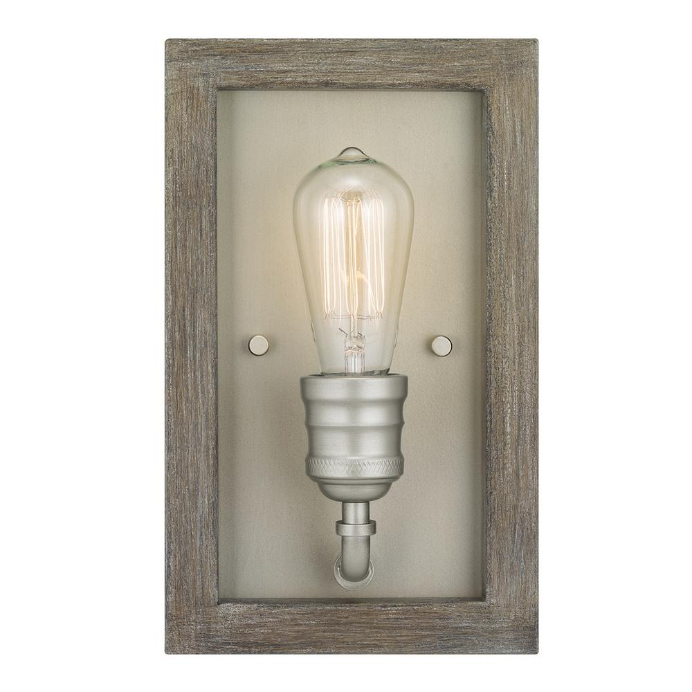 Home Decorators Collection Palermo Grove 1-Light Antique Nickel Sconce with Painted Weathered Gray Wood Accents
