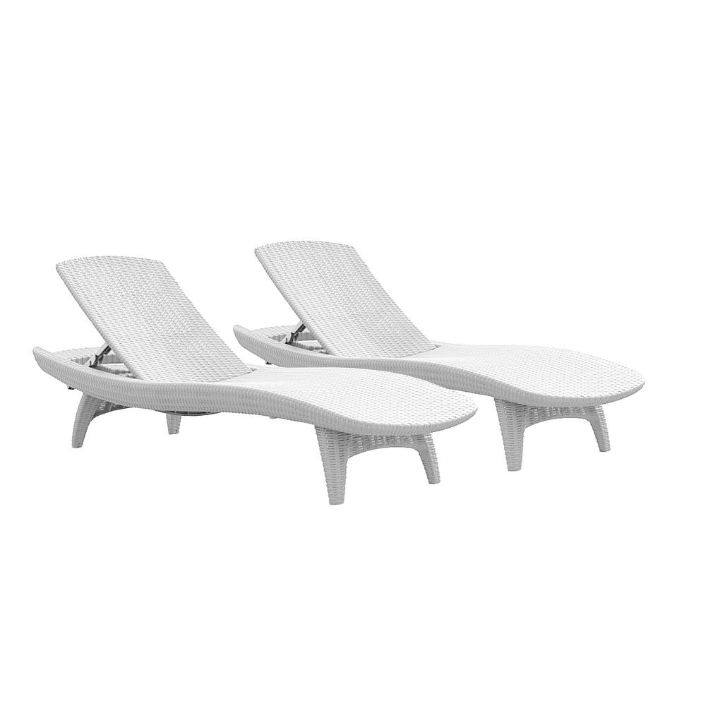 Keter Pacific Oasis White All Weather Adjule Resin Outdoor Chaise Lounge Chairs 2