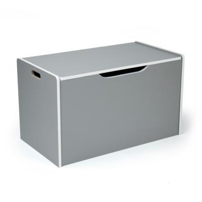 Grey and White Hinged Toy Storage Chest with Lid