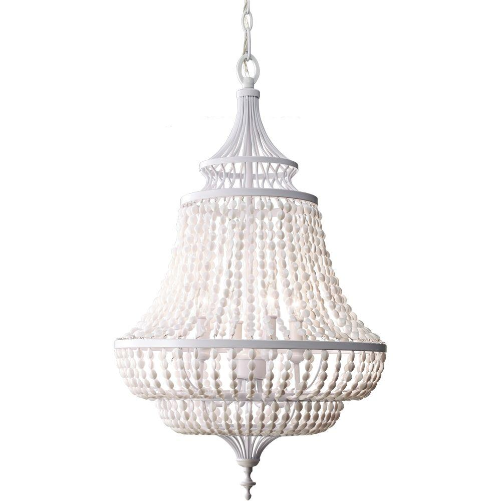 Feiss Maarid 18.125 in. W x 30.25 in. H 4-Light Semi-Gloss White Empire Chandelier with White Acrylic Hand Strung Beads