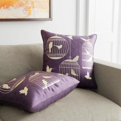 Birds Purple Decorative Pillow (Set of 2)
