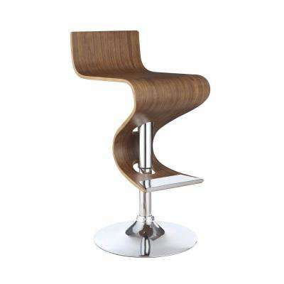 Modern 28 in. Brown and Silver Adjustable Bar Stool with Chrome Base