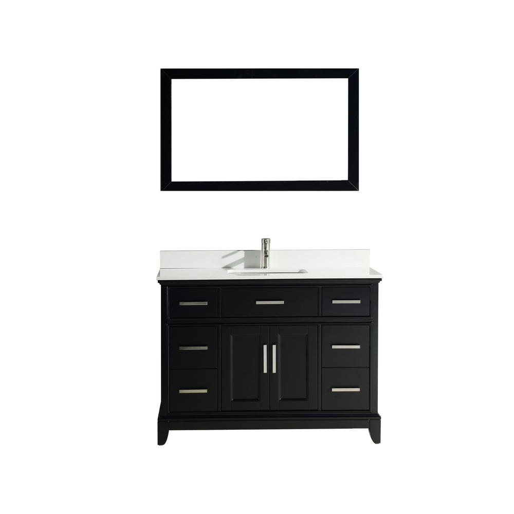 Vanity Art Genoa 48 in. W x 22 in. D x 36 in. H Vanity in Espresso with Single Basin Vanity Top in White Phoenix Stone and Mirror