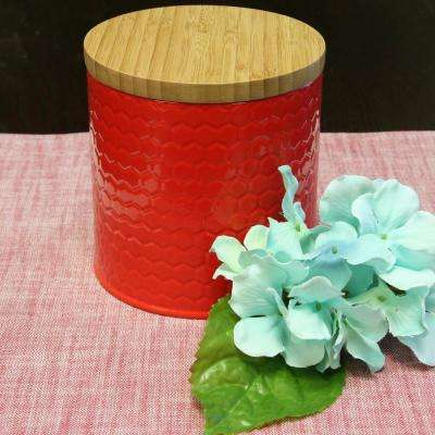 Hollydale Powder Coated Steel Canister with Bamboo Lid
