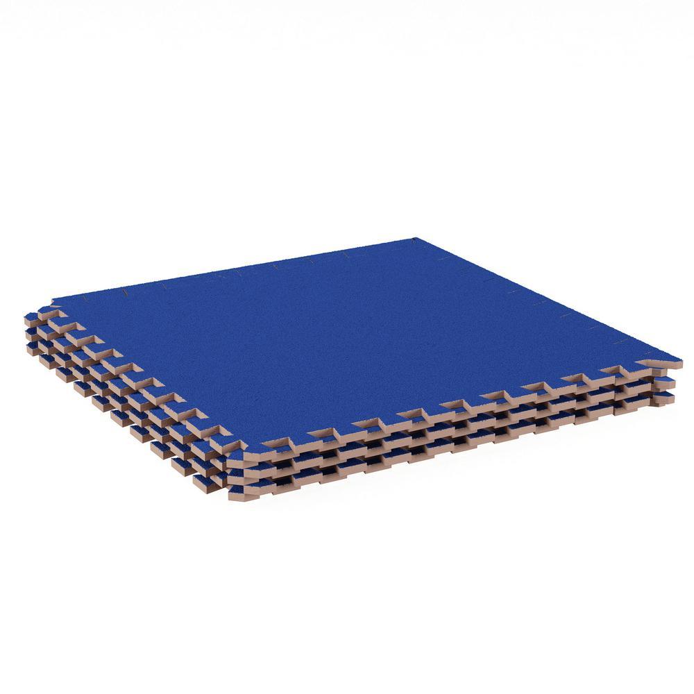 Blue 24 in. x 24 in. EVA Foam Floor Mat with Carpet Top (6-Pack)