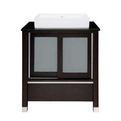 Tyson 31 in. W x 22 in. D x 32 in. H Vanity in Espresso with Granite Vanity Top in Black and Lavatory in White