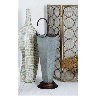 Gray Vintage Umbrella Stand with Bronze Accents