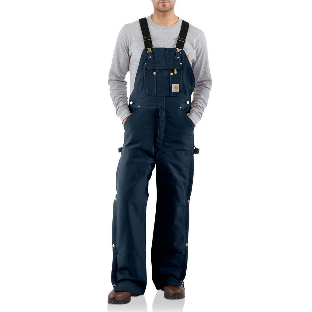 Men'S 38 in x 32 in. Dark Navy Cotton Quilt Lined Zip To Thigh Bib Overalls
