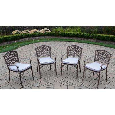 Mississippi Aluminum Outdoor Dining Chair with Oatmeal Cushion (4-Pack)