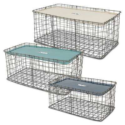 Rectangular Chicken Wire Baskets with Enameled Lid (Set of 3)