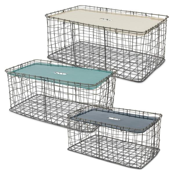 Gerson Rectangular Chicken Wire Baskets with Enameled Lid (Set of 3)
