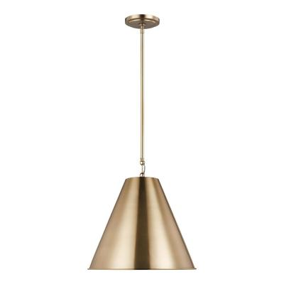 Gordon 1-Light Satin Brass Small Pendant with Steel Shade