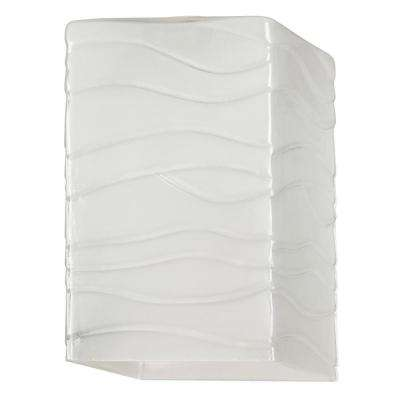 6 in. Wavy White Glazed Shade with 2-1/4 in. Fitter and 3-3/4 in. Width