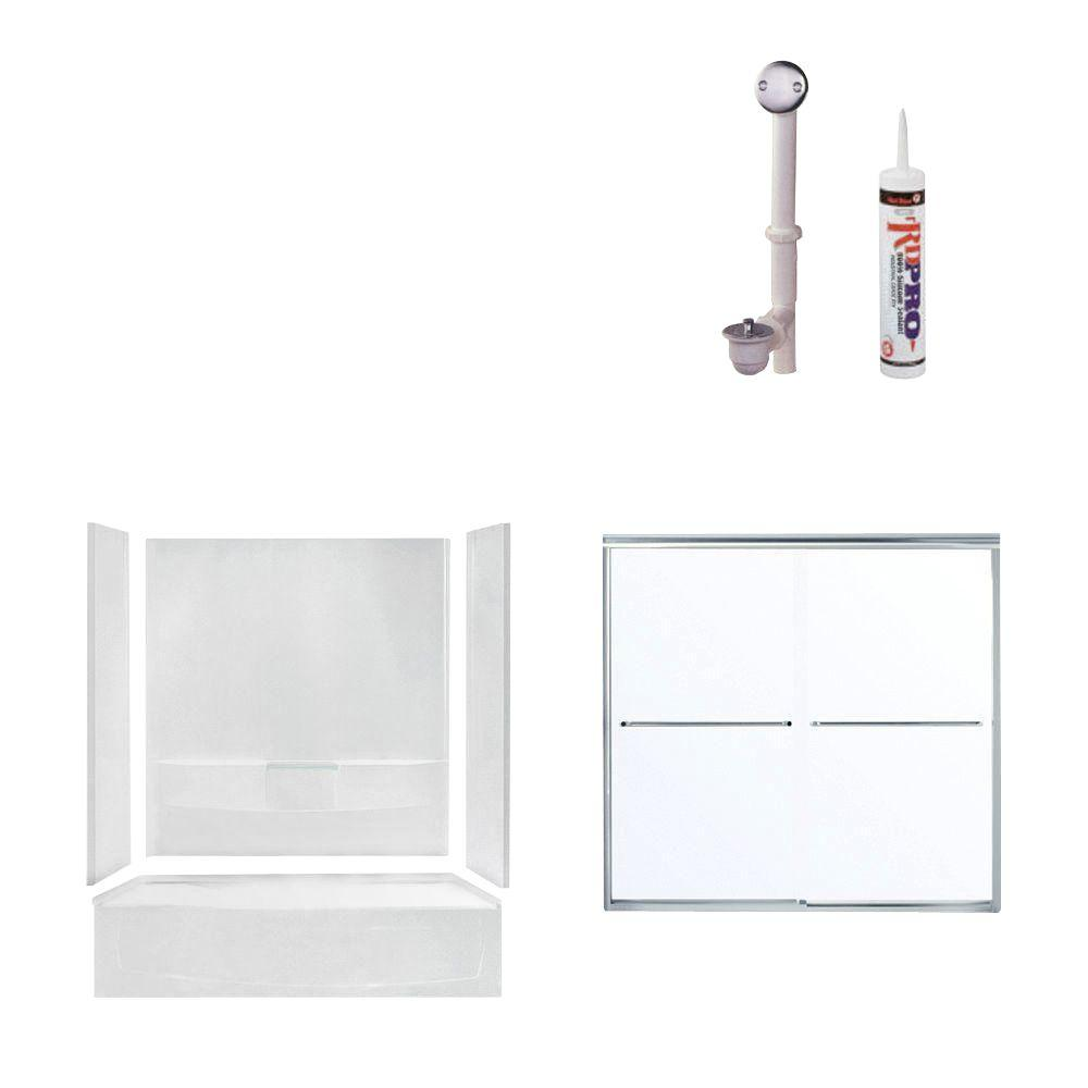 STERLING Performa 60 in. x 29 in. x 75-1/2 in. Bathtub Kit with Right-Hand Drain in White with Chrome Trim-DISCONTINUED