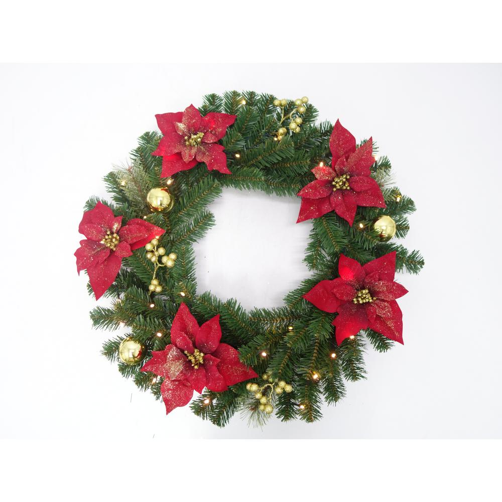 Pre Lit Led Glittered Poinsettia Artificial Christmas Wreath With 35 Lights