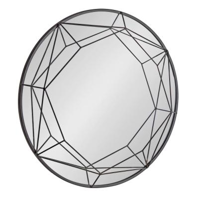 Medium Round Black Modern Mirror (30 in. H x 30 in. W)