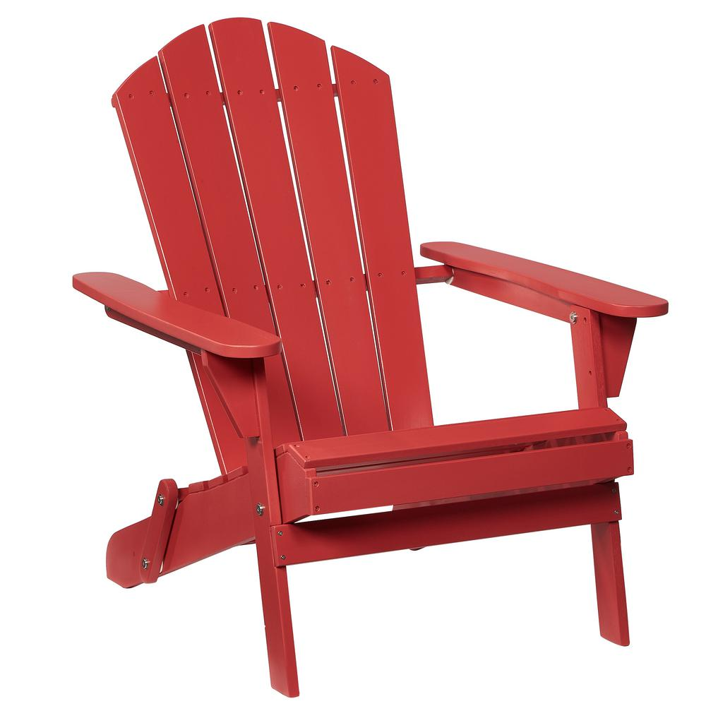 Beau Hampton Bay Adirondack Wood Folding Chair In Chili Red