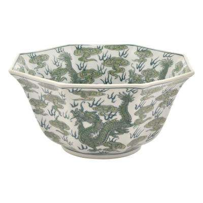 6 in. Green and White Ceramic Bowl
