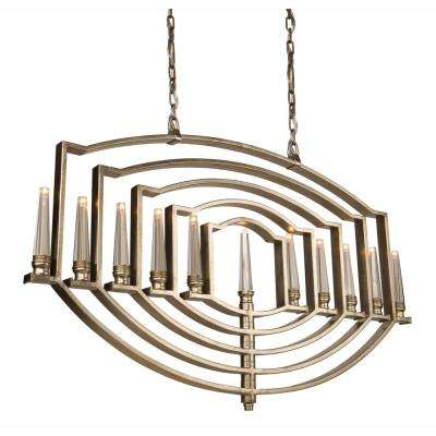 11-Light Silver Leaf Chandelier