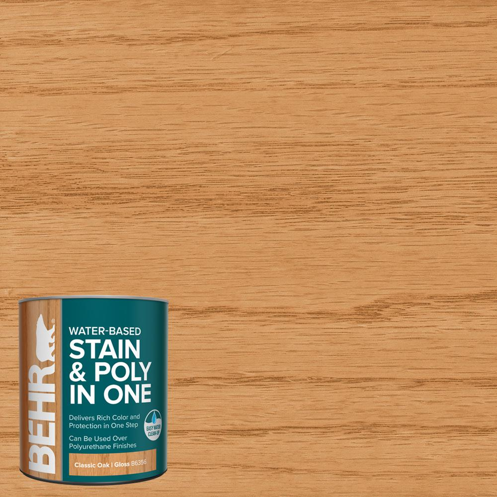BEHR BEHR 1 qt. #TIS-356 Classic Oak Gloss Semi-Transparent Water-Based Interior Stain and Poly in One