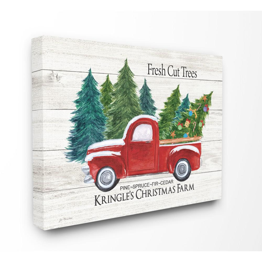 24 In X 30 In Holiday Rustic White Fresh Cut Trees Red Pickup Christmas Farm By Artist Jo Moulton Canvas Wall Art