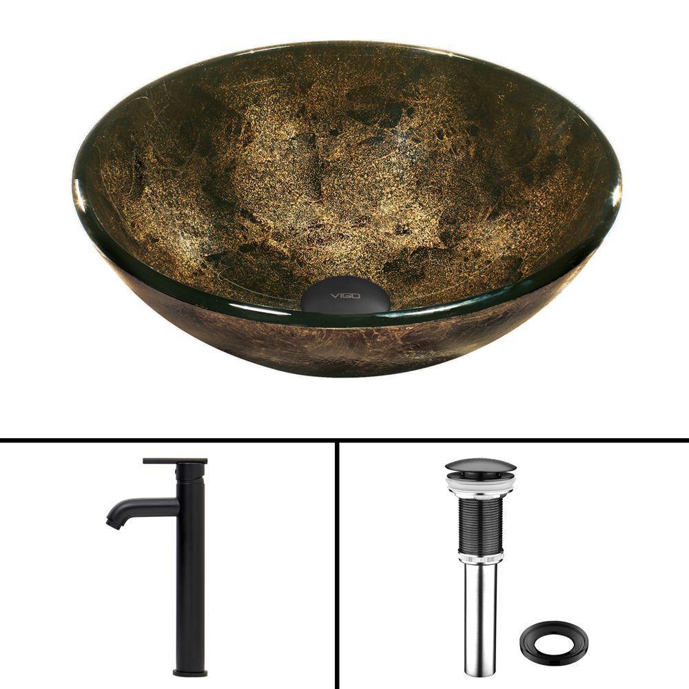 VIGO Glass Vessel Sink in Sintra and Seville Faucet Set in Matte Black