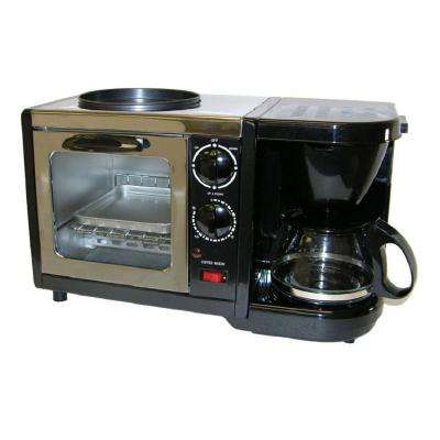 Black 3 in 1 Breakfast Center Toaster Oven