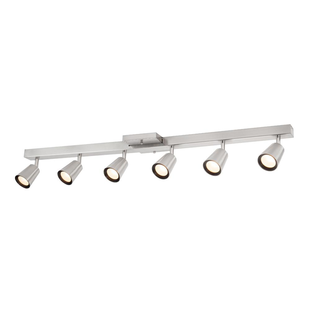 Sunray 39 37 In 6 Light Brushed Nickel Integrated Led Fixed Track Lighting Kit With Square