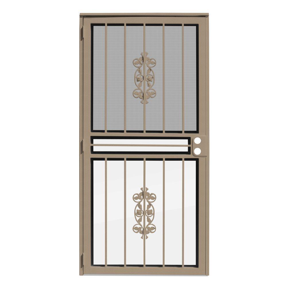 Unique Home Designs 36 In X 80 In Rambling Rose Tan Recessed Mount All Season Security Door