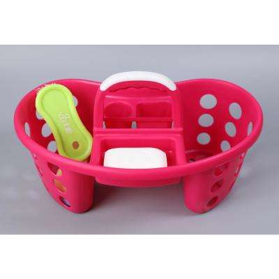 Portable Plastic Tool and Cleaning Caddy Pink