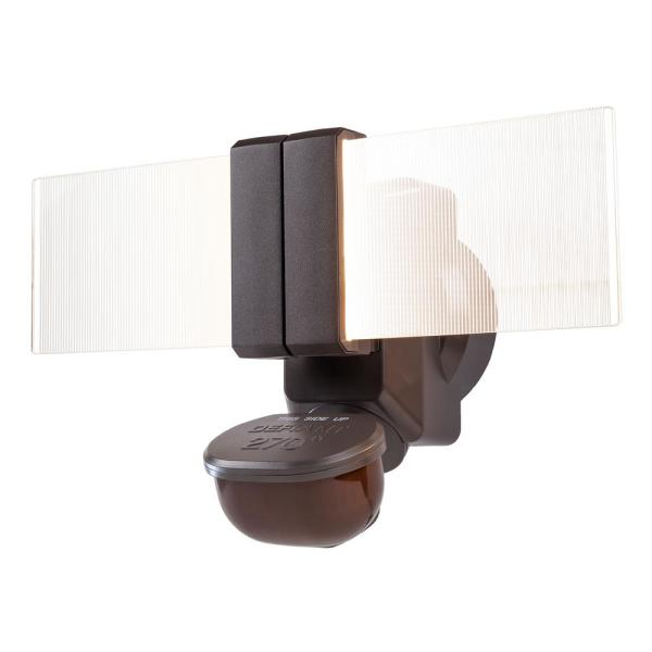 270 Degree Bronze Motion Outdoor Integrated LED Flood Light with Clearview Edgelit Translucent Light Panel Technology