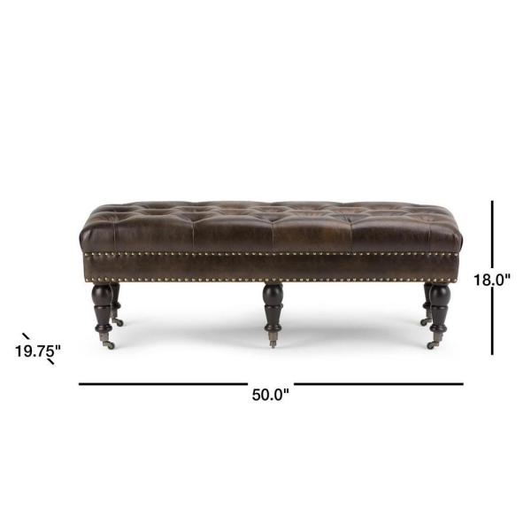 Distressed Brown Simpli Home Henley Tufted Ottoman