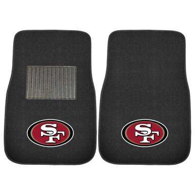 NFL - San Francisco 49ers Heavy Duty 2-Piece 17 in. x 25.5 in. Nylon Carpet Embroidered Car Mat
