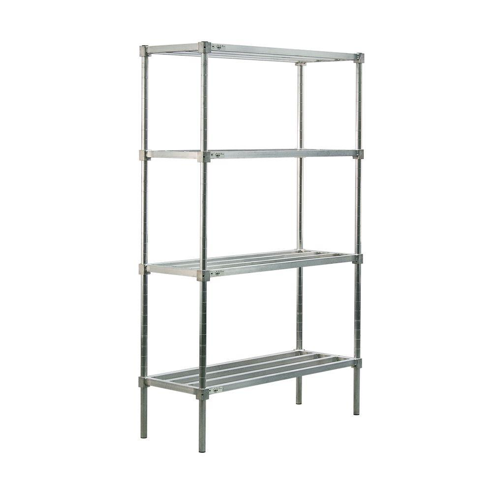 New Age Industrial 4-Shelf Aluminum Heavy Duty Style Adjustable Shelving