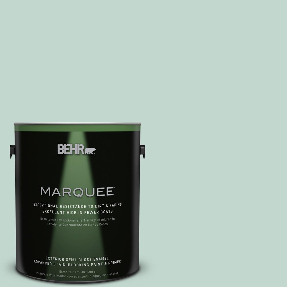 BEHR MARQUEE 1-gal. #470E-3 Aqua Smoke Semi-Gloss Enamel Exterior Paint