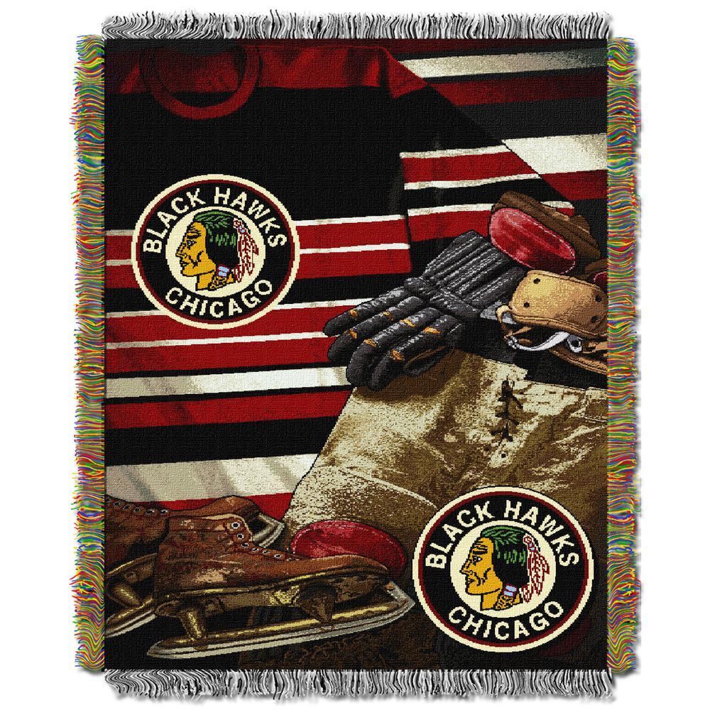 Blackhawks Multi Color Vintage Tapestry Throw