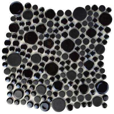 Cosmo Bubble Black 11-1/4 in. x 12 in. x 8 mm Porcelain Mosaic Tile