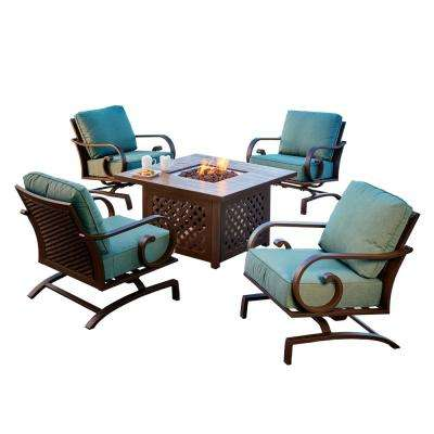 Milano 5-Piece Metal Patio Fire Pit Conversation Set with Teal Cushions