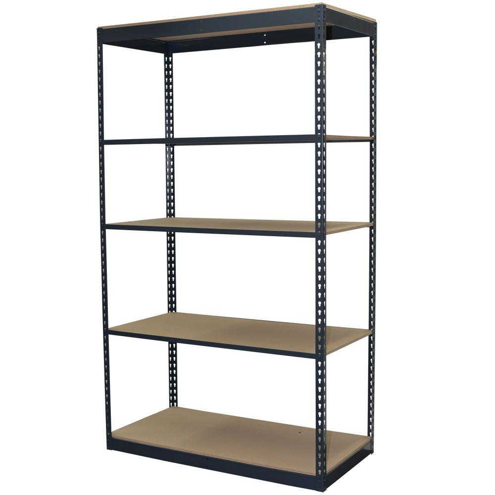 Storage Concepts 96 in. H x 48 in. W x 12 in. D 5-Shelf Steel Boltless Shelving Unit with Low Profile Shelves and Particle Board Decking