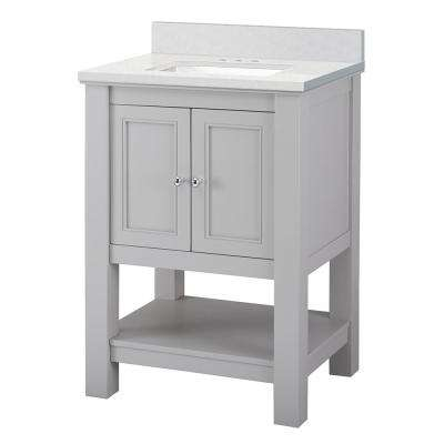 Gazette 25 in. W x 22 in. D Vanity Cabinet in Grey with Engineered Marble Vanity Top in Snowstorm with White Sink