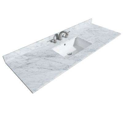 Deborah 60 in. W x 22 in. D Marble Single Basin Vanity Top in White with White Basin